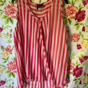 New Directions striped sheer high low tank top